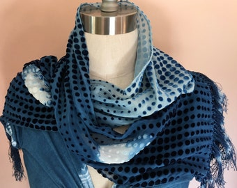 """HAND DYED- Silk Cut Velvet scarf in dotted pattern 9"""" x 51"""" -Ombre affect made with natural indigo and Shibori technique"""