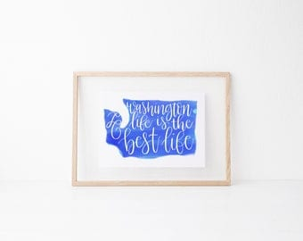 Tacoma Seattle Washington Local Hand lettered home art print, typography gift, holiday, bedroom home decor quote, modern calligraphy, city