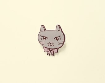 Cat pin | pastel kitty with bow | illustrated shrink plastic brooch