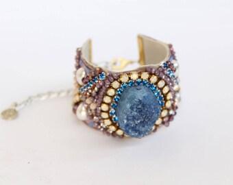 Druzy Bracelet Blue Agate Bracelet Boho Cuff Coachella Bracelet Modern Bohemian Jewelry Druzy Agate Bracelet Bohemian Chic Hippie Style Cuff