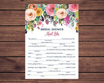 Bridal Shower Mad Libs Game, Floral Bridal Shower Mad Libs, Bridal Shower Game, Pink and Navy Floral Instant Download PDF Printable 201