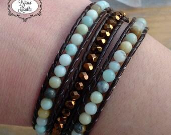 Wrap bracelet, brown leather bracelet, gypsy jewelry, handwoven bracelet, boho bracelet, amazonite jewelry, handmade jewelry, Bijoux Koùkla
