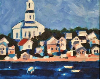 "Provincetown Original Landscape Painting,  8"" x 8"" Panel, Free Shipping within USA"