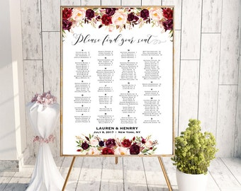 Burgundy Floral Alphabetical Seating Chart Template, Printable Wedding Seating Plan, up to 300 People, 24x36 Poster PDF Download #101