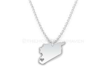 Syria Necklace - Syria charm necklace, Syria map necklace, I Heart Syria necklace