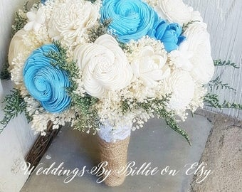 Blue Sola Bouquet, Sola Flowers, Beach Wedding, Blue Ivory Bouquet, Alternative Bouquet,Burlap & Lace,Bridal Accessories,Keepsake Bouquet