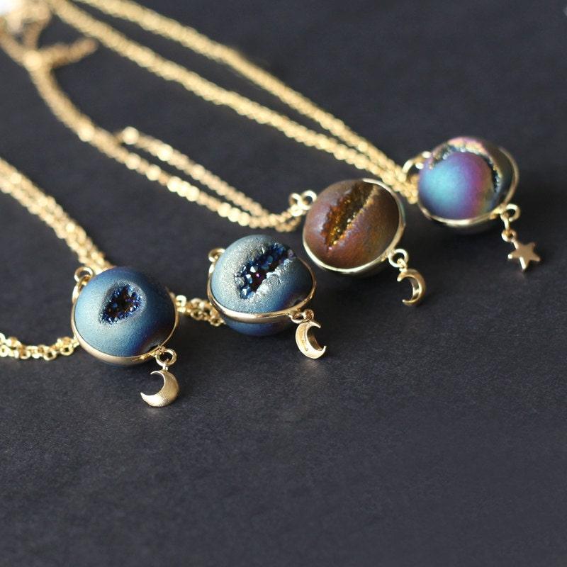 space necklace Planet Necklace agate necklace Universe