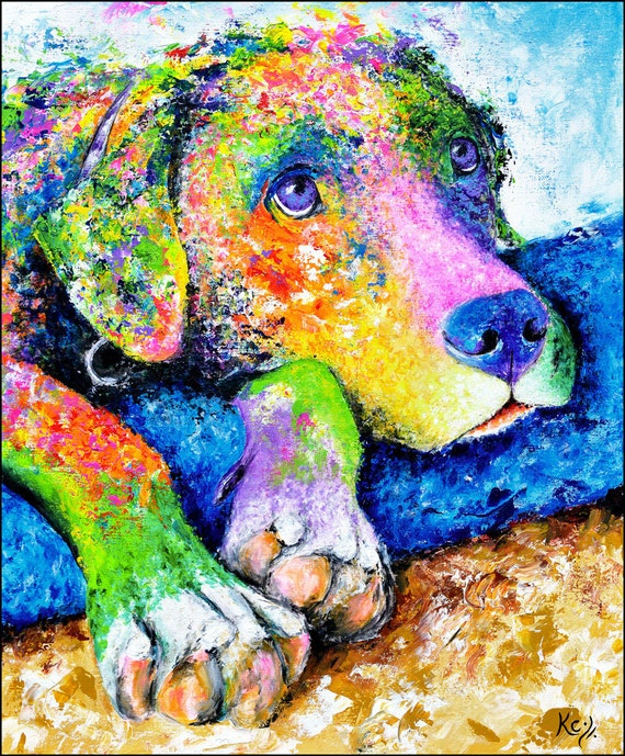 Labrador Retriever Art Print. Lab with Puppy Dog Eyes and Paws. Impressionist Pet Portrait. Colorful Dog Wall Art. Paw-some Dog Lover Gift!