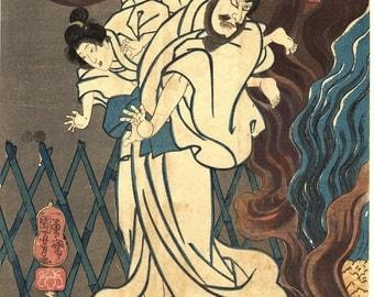"Japanese original Ukiyo-e Woodblock print, Kuniyoshi, ""Ishikawa Goemon"", Edo-period."