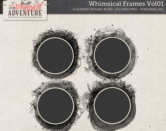 Layered Frame Templates, Round Digital Frames, Instant Download, Paint, Butterflies, Ornate Details and Stitches, Photo Book Clipping Masks
