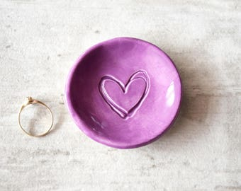 CUSTOM COLOR ring dish bridesmaid gift, bachelorette party gift, wedding ring holder, pink ring plate, purple ring tray, ceramic ring tray