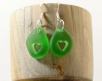Heart Earrings Green Sea Glass Earrings Beach Lovers Gift Seaglass Jewelry Beach Glass Earrings Beach Wedding