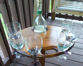 Wine Party Table - Wine glass table for 6 wine glasses and a Magnum sized wine bottle.