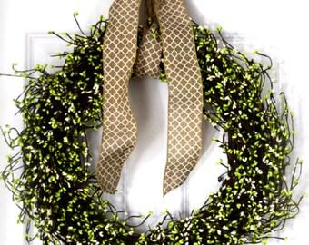 Green Pip Berry Wreath | Summer Door Wreath | Spring Wreath | Door Decor | Farmhouse Decor | Rustic Wreath