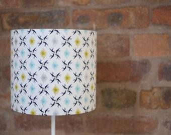 Geometric lamp, lampshade, blue lamp shade, handmade lampshade, bird home decor, table lamp, nature decor, birds lampshade, lighting, lamps