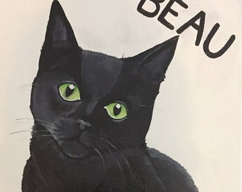 "Custom Acrylic Cat Portrait - 8x8"" Small Custom Cat Painting"
