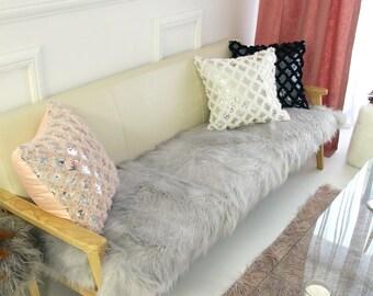 Gray Faux Fur Sofa Throw Pads Runner