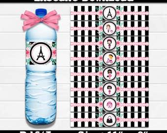 Paris, Eiffel Tower Water Bottle Labels, Instant Download, Pdf jpg