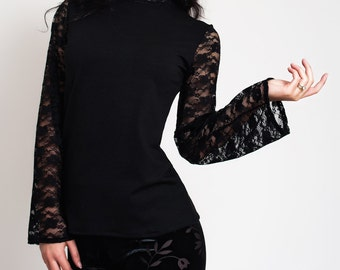 Sexy Lace Long Sleeve Black Top.Elegant Gothic Tight Blouse.Flared Sleeves Goth Everyday Top.Fall Autumn Gift Stylish Check Lace. Red, White