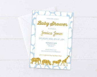 Blue Safari Baby Shower Invitation, Baby Blue & Gold Invite, Gold Foil Safari Animals, Baby Sprinkle Safari Theme, 4x6 or 5x7- Digital File