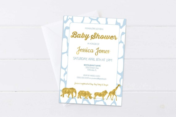 blue safari baby shower invitation baby blue & gold invite, Baby shower invitations