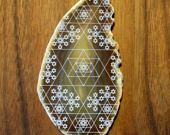 Tetrahedron Fractal Engraved Agate - Sacred Geometry Home Decor by LaserTrees Geode Crystal Unique - LT40142