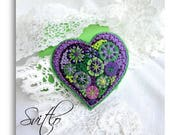 Violet Purple Green Happy heart.Beaded Felt brooch.Spring Fireworks.Hand embroidery.Beadwork. French knot.Folk Art Felt brooch Gift for mom.
