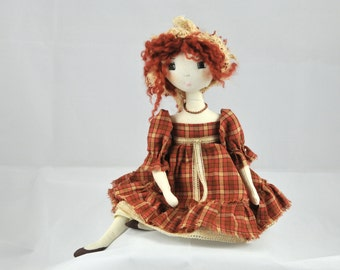 OOAK art doll - Handmade Doll, Rag Doll, Doll Textile, Cloth Doll - Art Doll - rag doll, doll, homespun, LILLY romantic