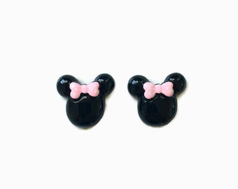 Minnie Mouse Earrings Minnie Mouse Pink Polka Dot Bow Earrings