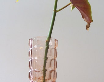LUMINARC - Pink Solid Thick Beveled Glass Vase with a Geometric shape - Made in France - 1970s