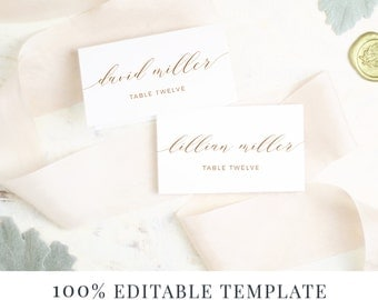 Wedding Place Card Template, Printable Escort Cards, Rustic Calligraphy, Word or Pages, Mac or PC, Instant DOWNLOAD