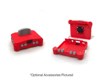 Red Tinytendo 64 V2 Raspberry Pi 3 Case, Raspberry Pi 3 case, 3D printed, Nintendo 64, NES Classic, N64, SNES, Legend of Zelda