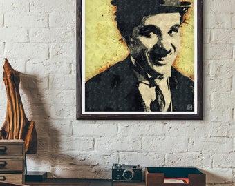 8x10 Charlie Chaplin Art Print, Charlie Chaplin Poster, PRINTABLE Home decor, Modern Wall Art, Best Selling Items, Pop Culture Poster