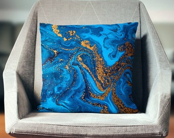 Blue Pillow   Blue Gold Pillow   Marble Decorative Pillow   Blue Throw Pillow   Marble Pillow   Marble Gifts   Marble Decor   Blue Decor