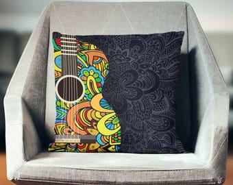 Music Pillow | Guitar Pillow | Music Gift | Music Throw Pillow | Guitar Throw Pillow | Musician Gifts | Music Pillow Cover