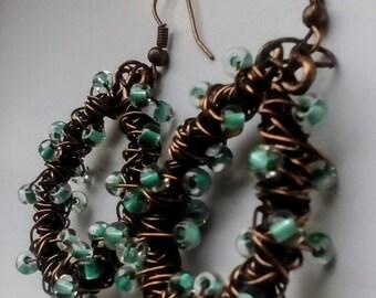 Beautiful Aqua Turqoise lined Earrings  ,Copper  wire earrings, Copper Hoop Earrings,Wire Wrapped Jewelry, Handmade