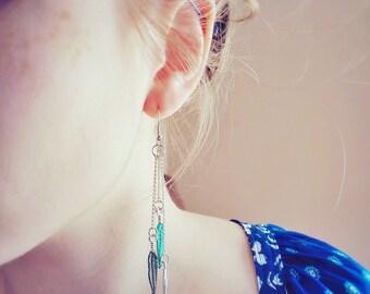 Long Feather Earrings - Metal Feather Earrings, Boho Chandelier Earrings, Long Chain Earrings, Rustic Earrings, Hand Painted Earrings