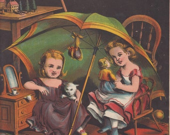 Victorian Girls Holding Pet Cat & Early Doll Toys Antique Lithograph Art Print 1881