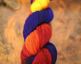 "Hand Painted ""Crayon Box"", 4 Ply Sock, Super Wash Merion, Wool, Knitting, Crochet, Sock Yarn"