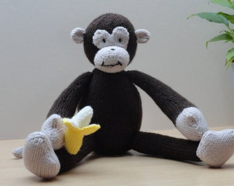 Hand Knitted Monkey with Banana - cuddly monkey - soft monkey - brown monkey - banana eating monkey - knitted monkey