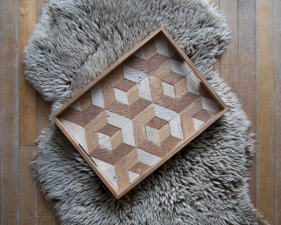 Wood Serving Tray | Wood Tray | Reclaimed Wood | Decorative Tray | Rustic Geometric| Table Tray | Cube with Tesselation | Warm Tones |
