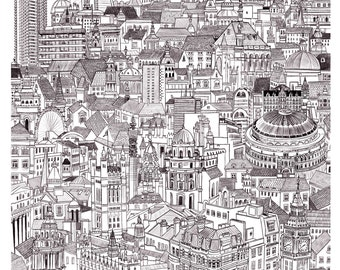 London cityscape - High quality giclee print of original illustration