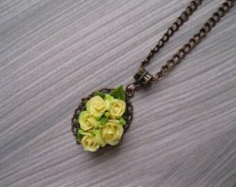 Ivory rose jewelry Ivory flower pendant Polymer clay pendant Rose pendant Flower jewelry Ivory necklace Floral jewelry Rose necklace Floral