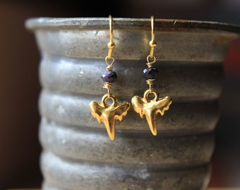Shark Tooth Earrings with Sapphires