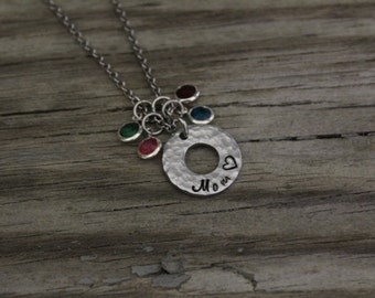 Hand Stamped Necklace - Mom Necklace - Birthstone Necklace - Mother Necklace - Textured Necklace