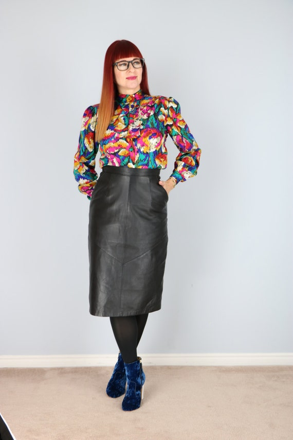 1980's Black Leather Midi Pencil Skirt With Pockets