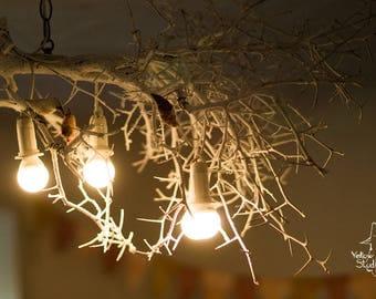 Lighting chandelier Tree Hand Made to Order Wood LED lights lamp