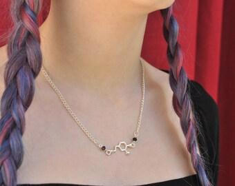 Serotonin charm necklace,happy hormone necklace,beads serotonin necklace,serotonin molecule necklace,neurotransmitter necklace geeky