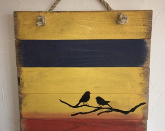 Rustic, handmade blackbird wall hanging