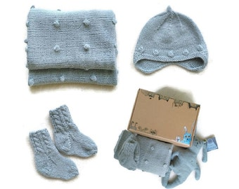 ALPACA blanket-blanket baby-baby blanket knit-newborn-grey blanket-newborn set-hand knit blanket for newborn-newborn gift set-hand knit baby